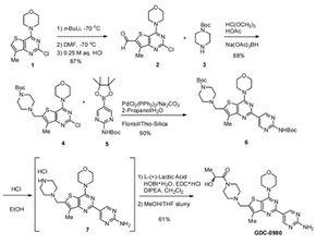 新型小分子PI3K mTOR抑制剂药GDC 0980的合成工艺优化研究