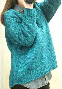 小希家 2012冬季新款韩版混色毛衣前短后长宽松大毛衣 日系亮色