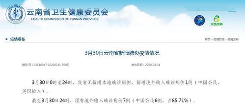 3月30日0时至24时,我省无新增本地确诊病例,新增境外输入确诊病例1例(中国公民,英国输入)。