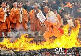 日本寺庙举办渡火节 僧人踏过火堆 净化 灵魂