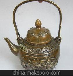 古玩批发铜器仿古纯铜八仙八宝酒壶茶壶手提水壶大明宣德摆件