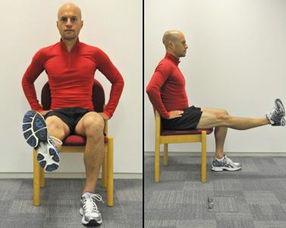 3.直腿提高-3组10次*2边腿练习方法2.坐姿大腿收缩-15秒*3组*2边腿练习方法端坐在椅子上,抬起右腿慢慢伸直.