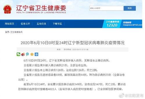 6月10日,辽宁无新增确诊病例