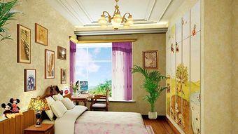 米色现代风格儿童房时尚窗帘装修设计图