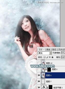 Photoshop调出蓝色唯美效果的林下美女照片