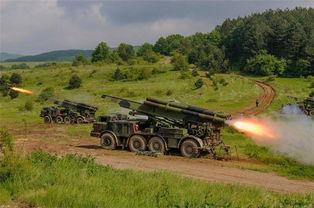 塞尔维亚陆军炮兵实弹射击演习火箭炮造型大亮