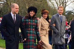 由左至右:威廉王子、凯特王妃、梅根、哈里王子。