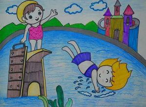 儿童画喷泉图片设计