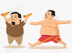 手绘吃货胖子素材图片免费下载 高清卡通手绘png 千库网 图片编号5667963