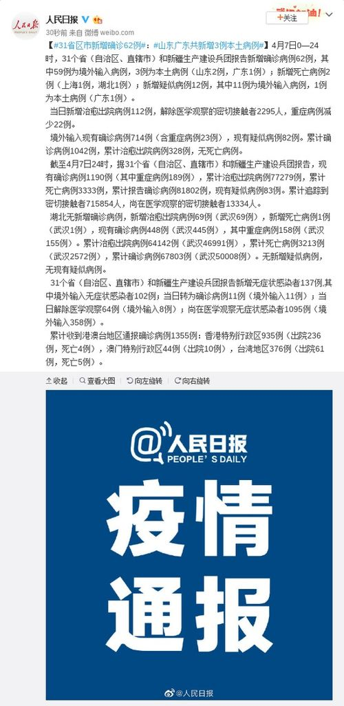 31省区市新增确诊62例山东广东共新增3例本土病例