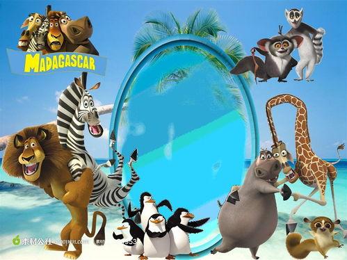 动物世界卡通动漫艺术相框素材