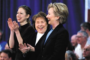 2008年1月,盖特威酒店的选举点内,母亲多萝西(中)和女儿切尔西,为民主党总统候选人希拉里助阵.