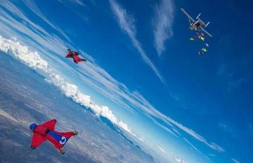 61名翼装飞行者上演集体滑翔打破世界纪录