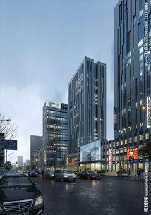 商业街雨天建筑效果图图片