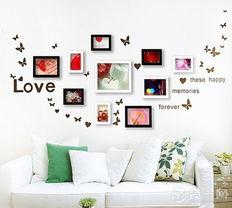 我图网电视墙-蝴蝶做陪衬,整个房间中照片墙是最多人眼球的地方,房间不失单调又...