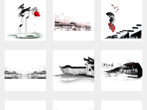 中国风手绘水墨江南水乡古建筑徽派建筑风景PNG背景图片素材 模板...