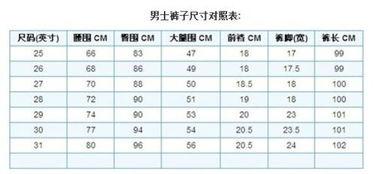 女士裤子尺码对照表(女士身高体重尺码对照表)