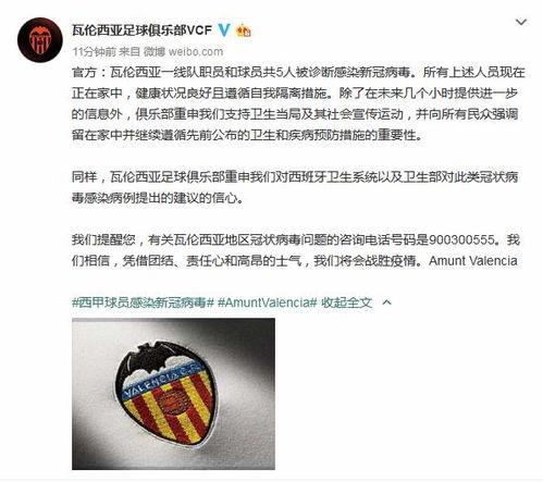 西甲瓦伦西亚宣布一线队5人确诊,4刚踢完欧冠