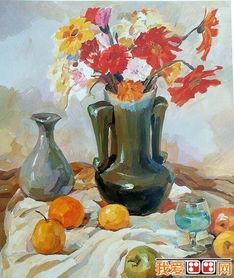 花瓶 鲜花 酒杯 水果静物水粉画教程 2