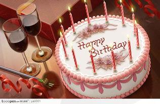 手绘高清精致粉色奶油生日蛋糕 生日蜡烛