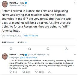 特朗普推特又怼假新闻没有跟g7国家关系不好,正要跟英首相吃早餐