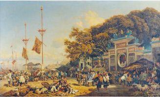 180年前,法国画家博尔杰笔下的澳门已是相当热闹.