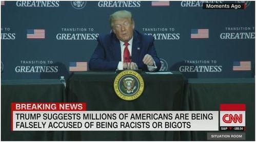 示威持续,特朗普警告不要给数千万体面美国人贴上种族主义偏执狂标签