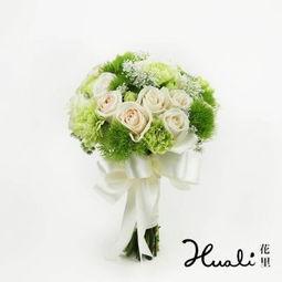 花里花店 夜莺与玫瑰鲜花手捧花香槟玫瑰绿色康乃馨新鲜速递 本产品仅限派送上海 无