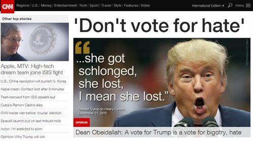 cnn嘲笑特朗普嘴脸这么丑还想当总统