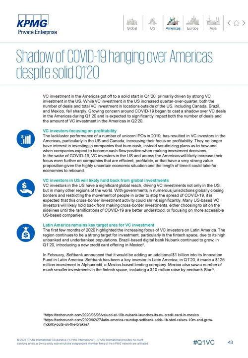 毕马威2020年第一季度全球风险投资报告