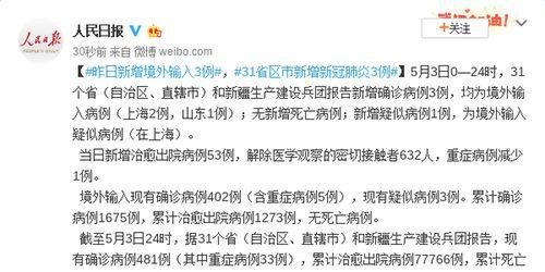5月3日新增境外输入3例31省区市新增新冠肺炎确诊病例3例
