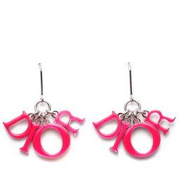 迪奥 Dior 耳坠 女款 粉色经典 dior 字母坠饰耳环 价格 报价 图片 正品 品牌