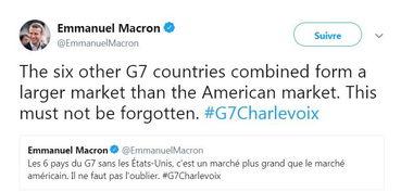 马克龙怒怼特朗普6国比美国更强大不怕g7变g6