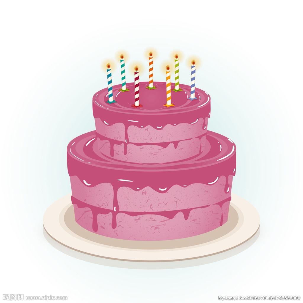 粉色生日蛋糕蜡烛图片