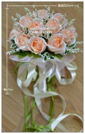 香槟玫瑰韩式新娘婚礼仿真手捧花 结婚手捧花