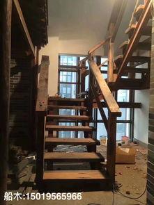 民宿会所老地板复古船木楼梯板实木楼梯板民宿会所老船木地板案例