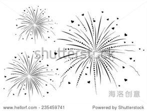 烟花简笔画-Vector illustration of fireworks with hearts black and whi