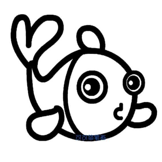 卡通鱼简笔画 2