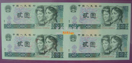 第四套人民币四方联连钞体大全册 045854