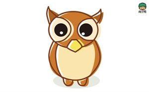 儿童简笔画教程20 涂色猫头鹰的简笔画画法图解教程 略懂