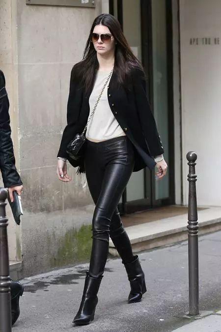 造型日历2014春季篇肯达尔詹娜kendalljenner黑白搭配酷感少女风,小西装外套加皮裤