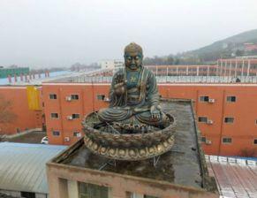 楼顶空降5米大佛 神态祥和坐东面西背靠青山