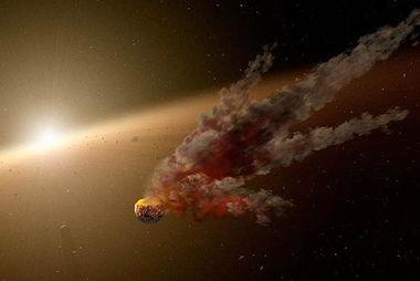 美国宇航局的斯皮策太空望远镜发现了一团巨大的的喷发状尘埃围绕在恒星ngc2547-id8周围。