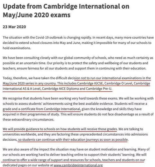重点摘要:1、今年6月份的caie全球考试取消2、学生会获得剑桥考试局颁发的5/6月gcse和alevel考试取消北京时间3月24日凌晨,caie(剑桥国际考试局)官方宣布全球范围内取消所有考试,包括igcse、