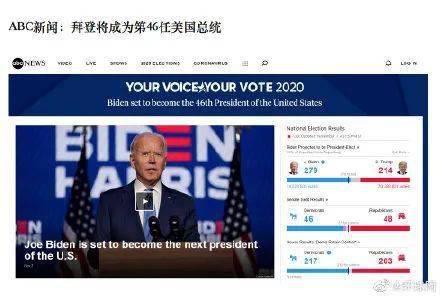 拜登发推:图/环球网福克斯新闻网显示,拜登已获得290张选举人票.