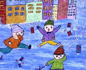 放鞭炮简笔画 放鞭炮图片欣赏 放鞭炮儿童画画作品