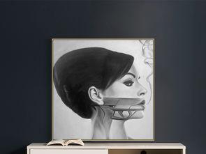 现代简约美女头像创意艺术绘画装饰画